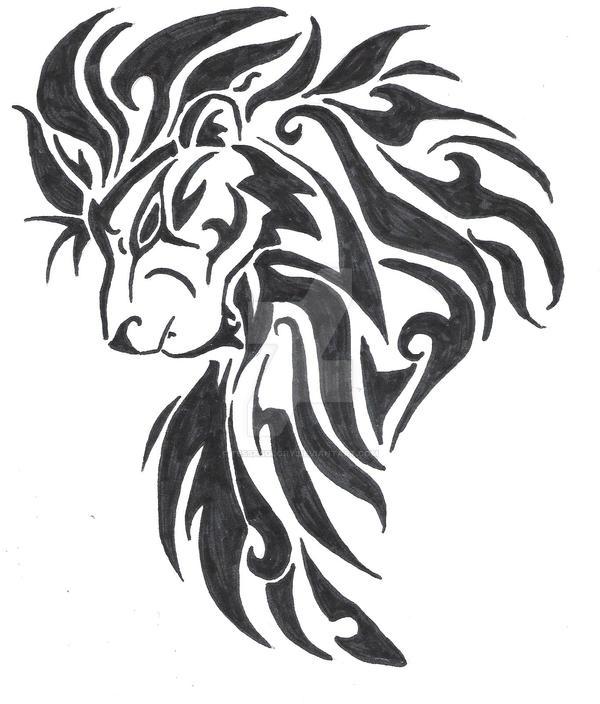 large tribal lion head by tessasglory on deviantart. Black Bedroom Furniture Sets. Home Design Ideas
