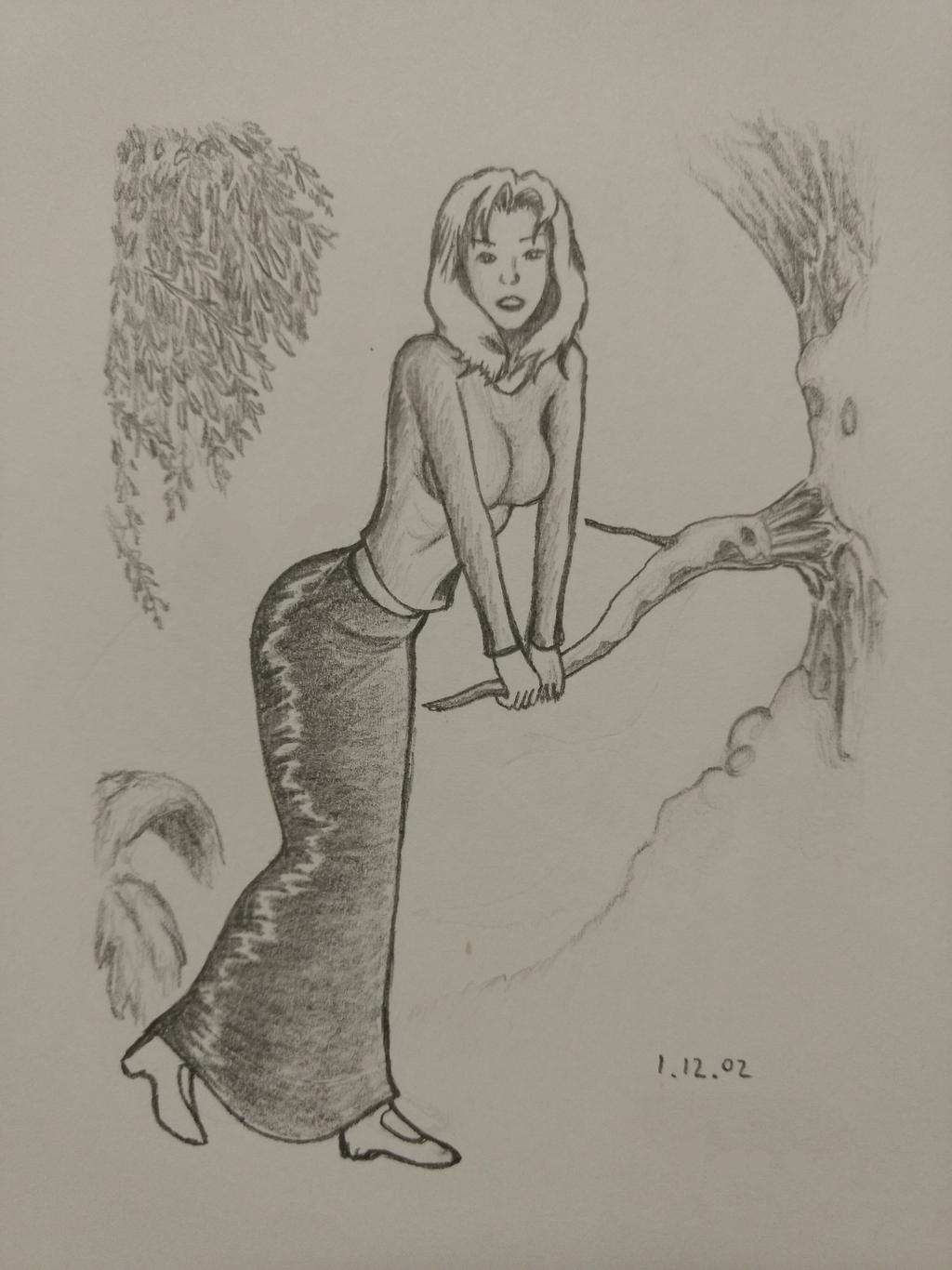 A girl in a forest