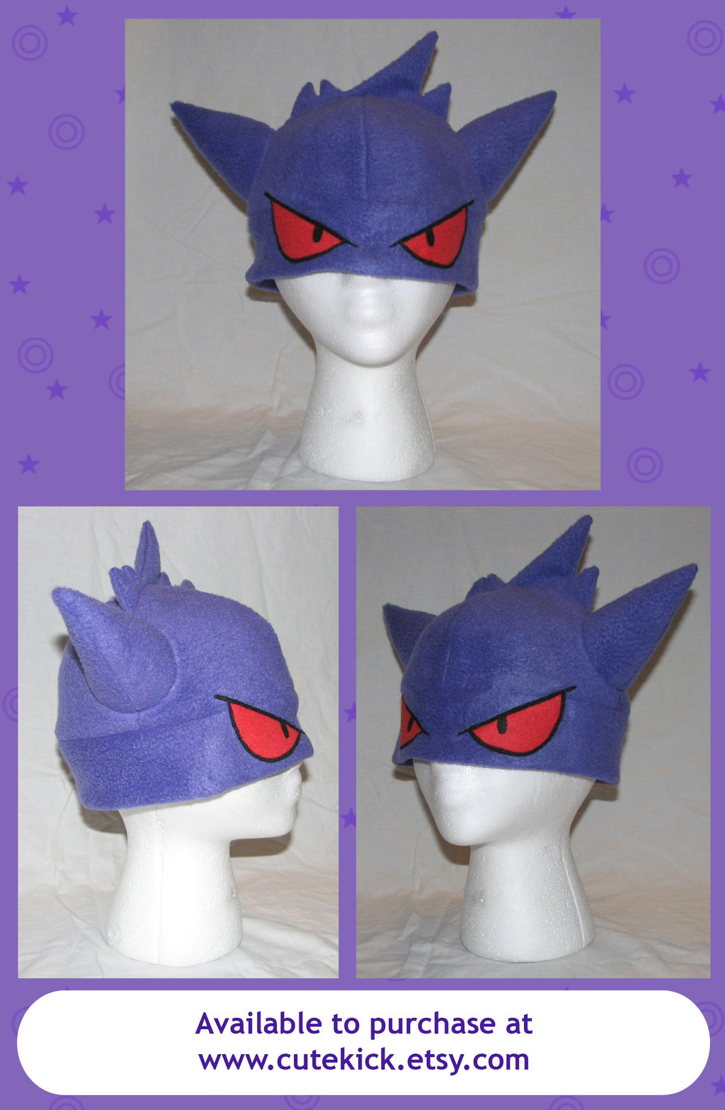 Gengar Pokemon Hat with eyes by cutekick