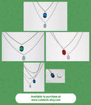 Glass Zelda Rupee Necklace Green Blue Red