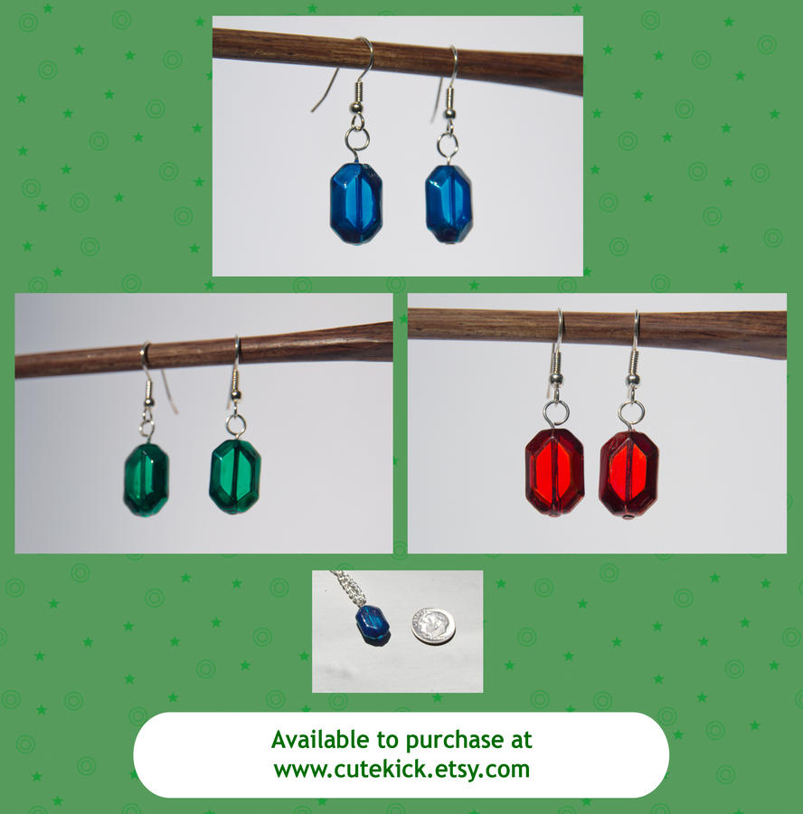 Glass Zelda Rupee Earrings Green Blue Red by cutekick