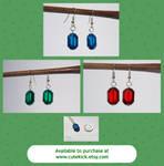 Glass Zelda Rupee Earrings Green Blue Red