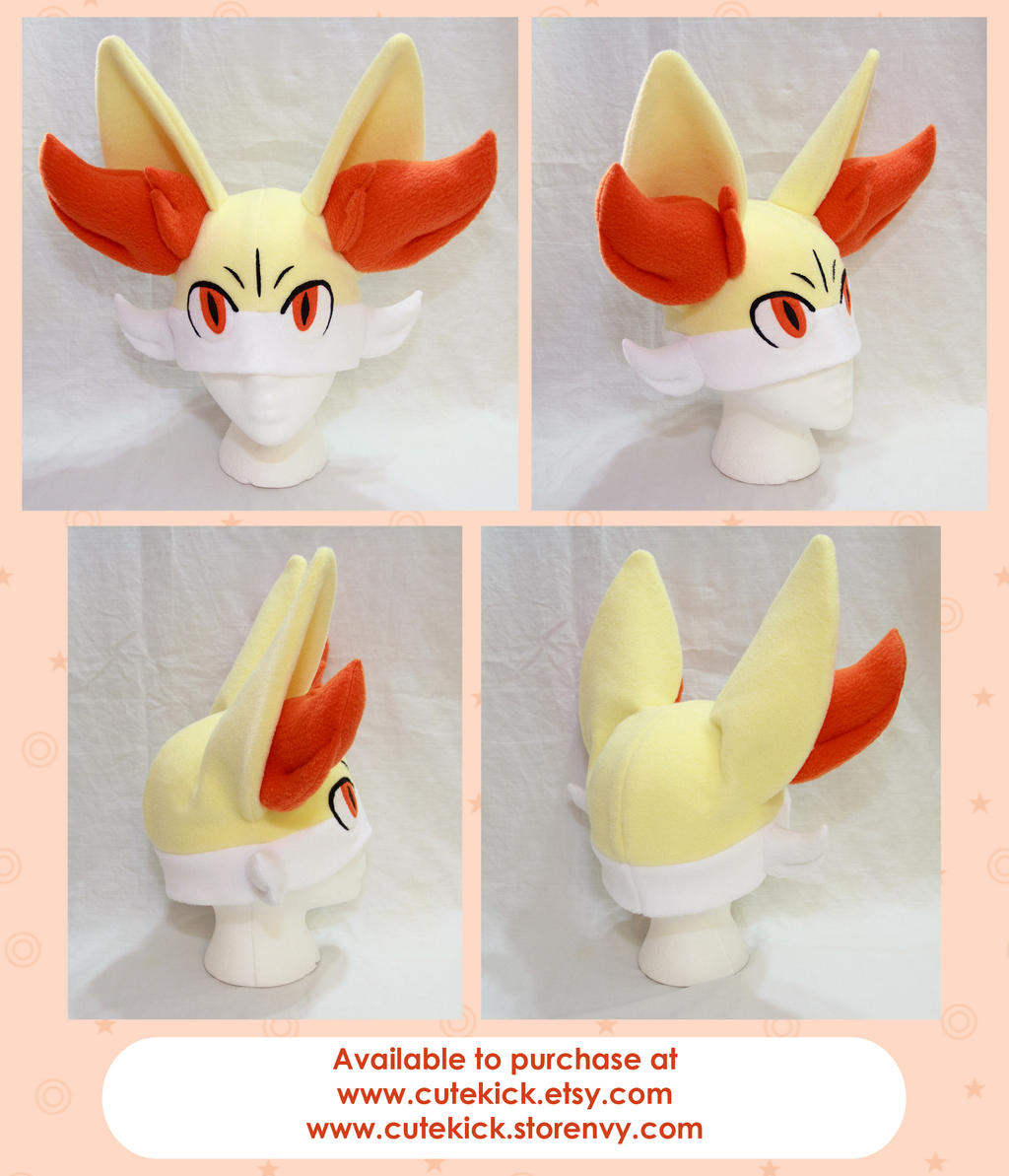 Fennekin Hat Pokemon Hat With Face by cutekick
