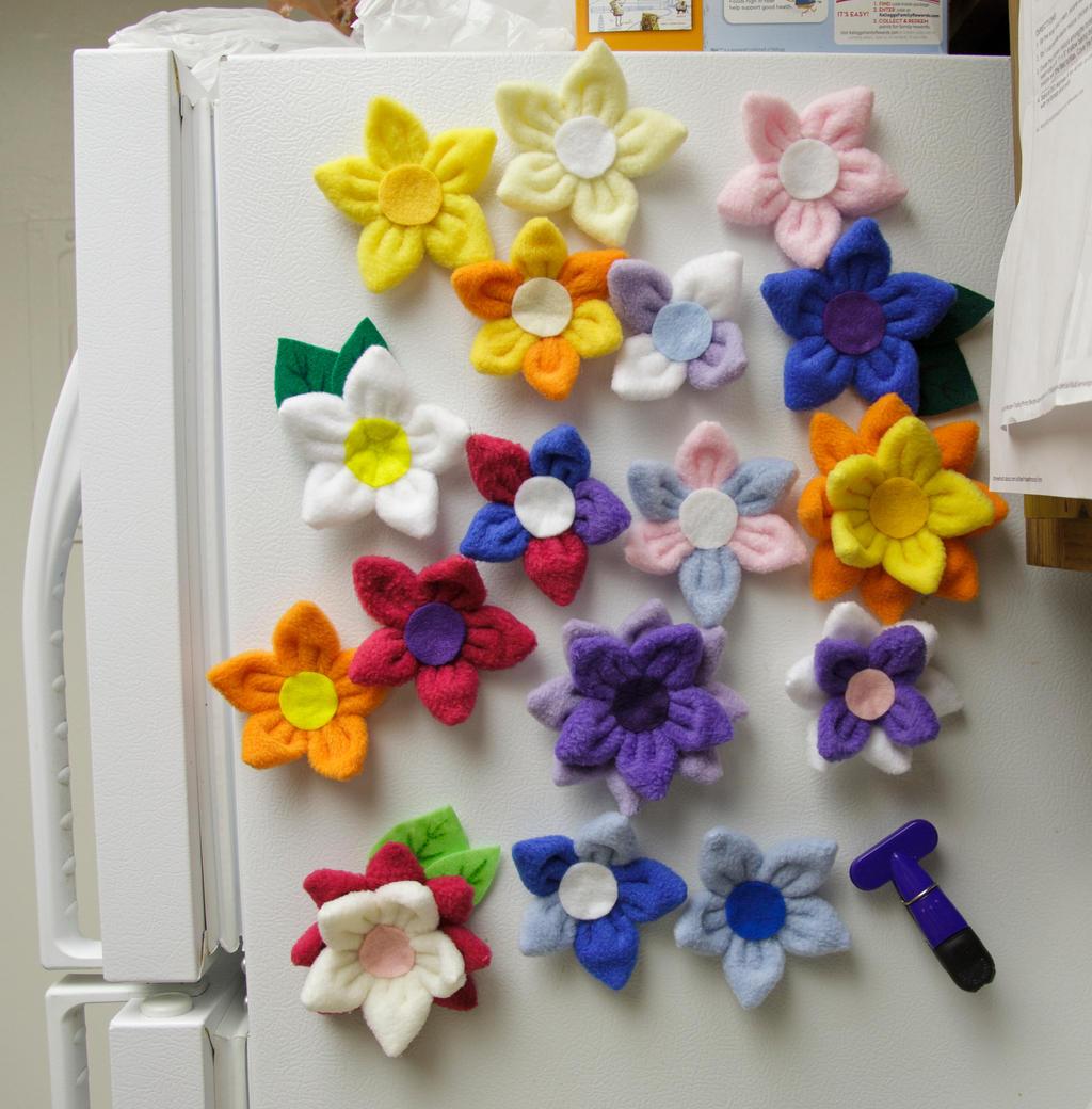 WIP Mother's Day Fleece Flower Magnets by cutekick
