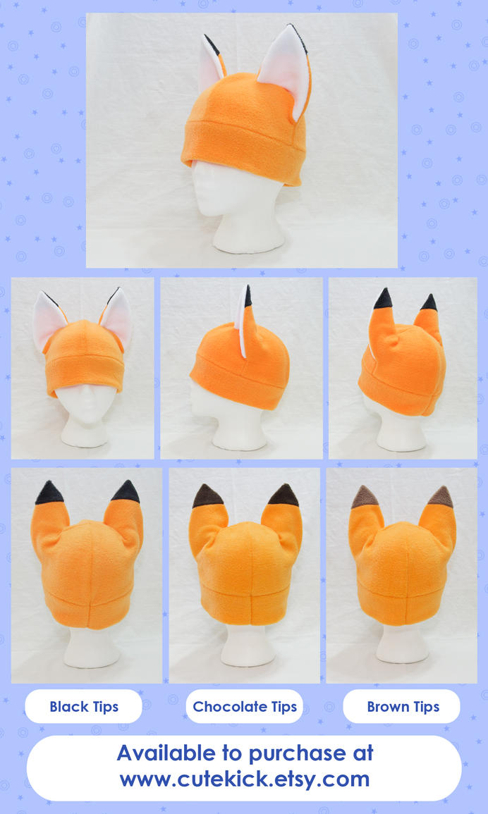 Fox Hat Kitsune Hat Short Ear Tips by cutekick
