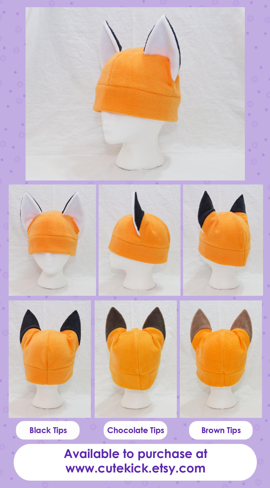 Fox Hat Kitsune Hat Long Ear Tips by cutekick