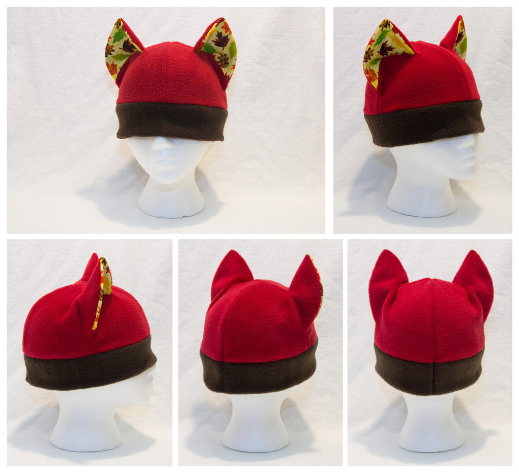 Brick Red Autumn Cat Hat with Leaf Pattern by cutekick
