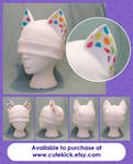 White Neon Rainbow Spotted Ear Cat Hat