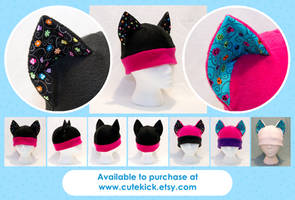 Neon Ladybug and Flowers Cat Hat by cutekick