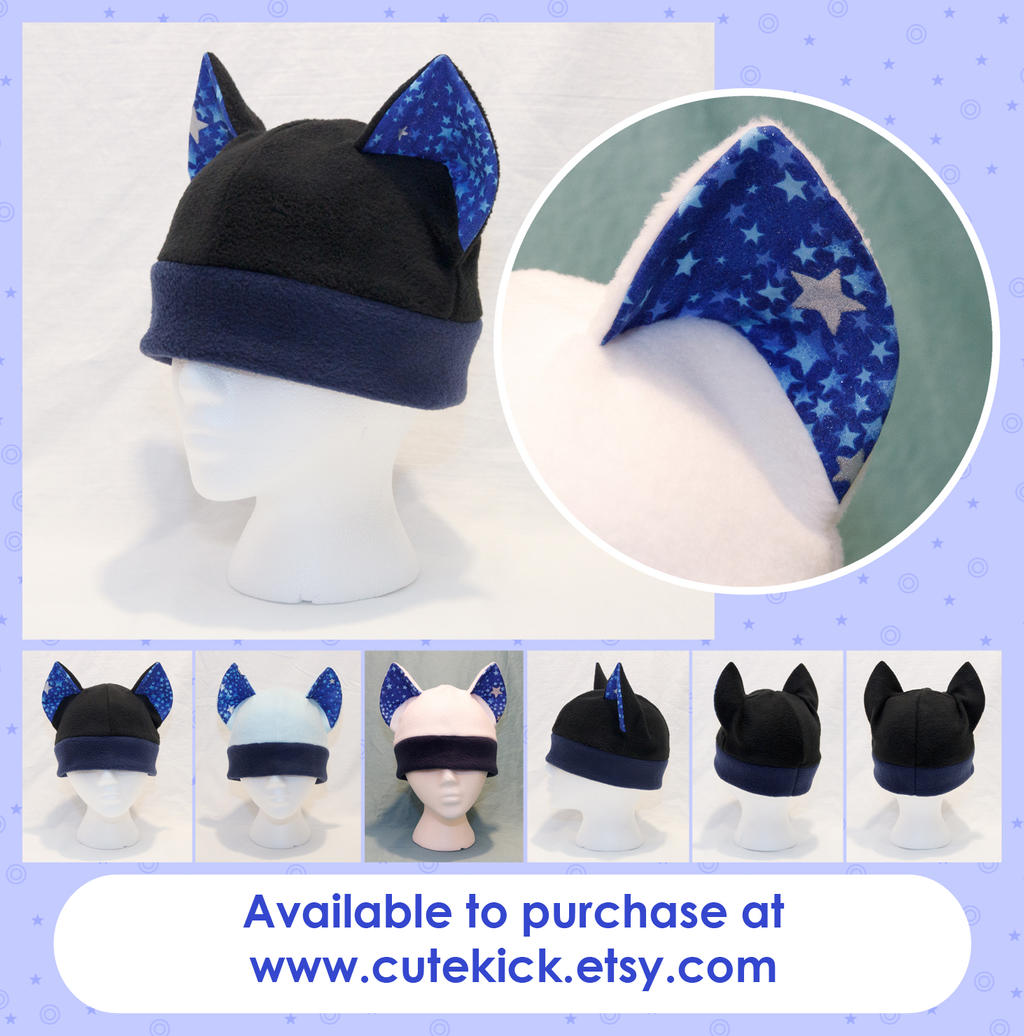 Blue and Silver Stars Cat Hat by cutekick