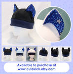 Blue and Silver Stars Cat Hat