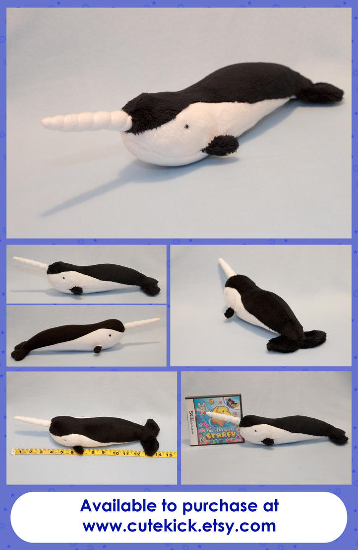 Simplified Realistic Narwhal Plushie by cutekick