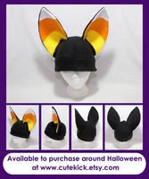 Black and Candy Corn ears Fennec Fox Hat by cutekick