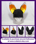 Black and Candy Corn ears Fennec Fox Hat