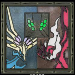 Xerneas Yveltal Zygarde Virtual Glass Medallion by Hyperagua