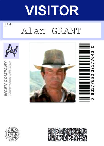 Jurassic Park Badge Alan Grant By Moviecard