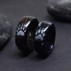 Rings with engraved animal paws - Bear and wolf by BDSart