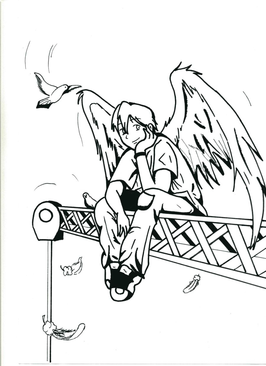 how to draw a boy angel