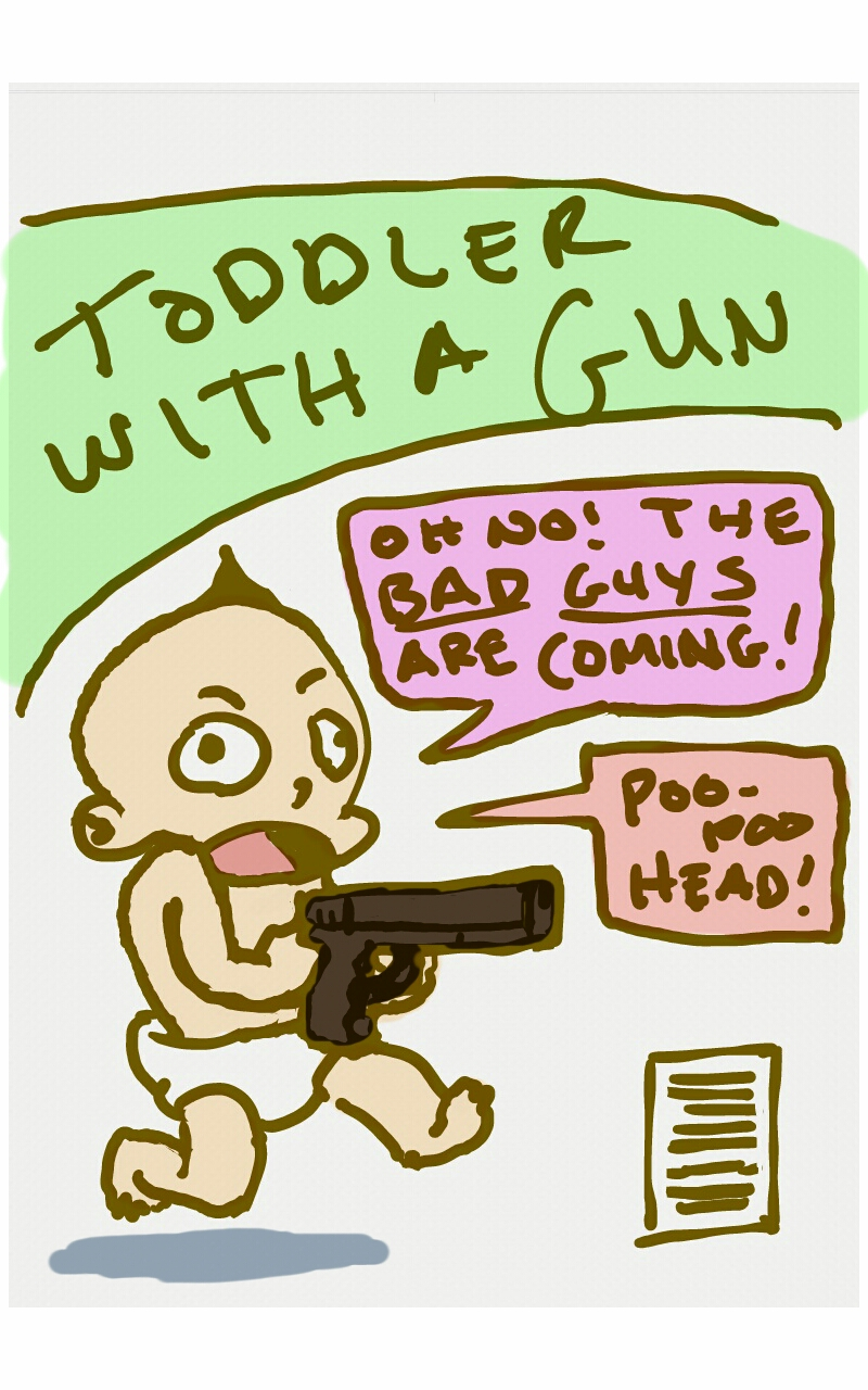 Toddler with a gun by gaudog