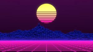 3D Digital Art retrowave neon art purple synthwave