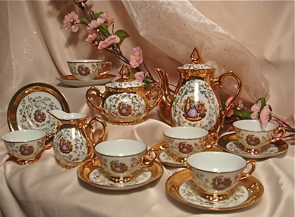 tea set for 6 fine bone china w 22k gold view 1 by. Black Bedroom Furniture Sets. Home Design Ideas