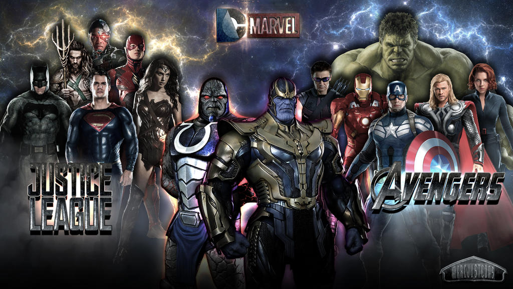 avengers x thanos vs justice league x darkseid by marcjustcons - Avengers Vs Justice League