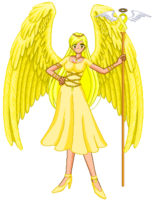 Yellow Ribbon Awarness Angel by Oceanfairydust