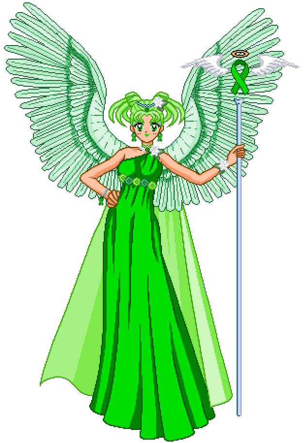 Green Ribbon Awarness Angel by Oceanfairydust