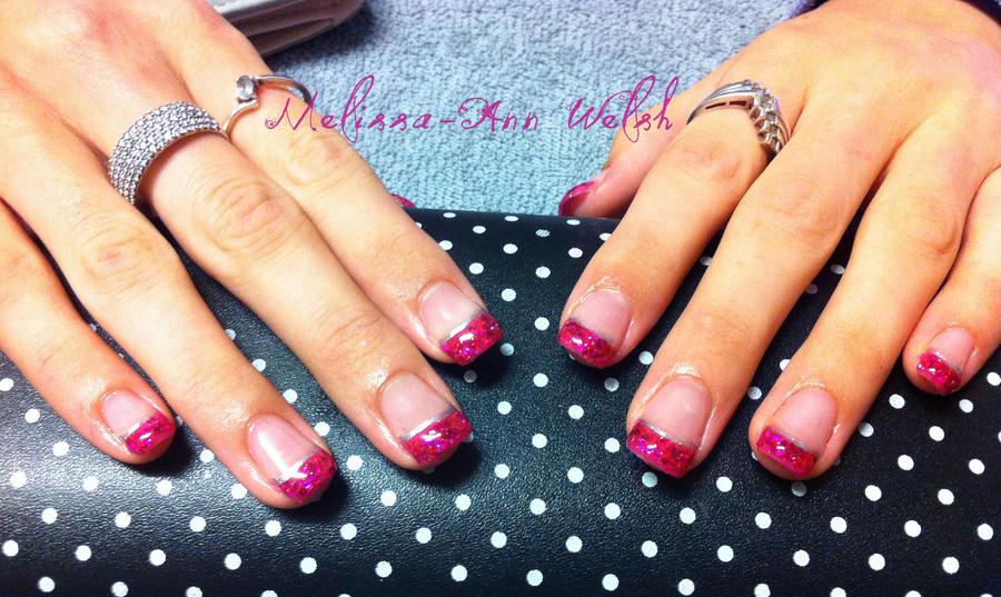 Magenta Glitter Nails by hugmemel on DeviantArt