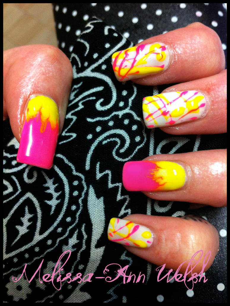 Fluro Gel nails by hugmemel