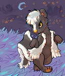 Skunk strolling in starlight