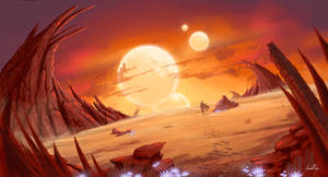 [Concept Art] Sunset Alien Planet