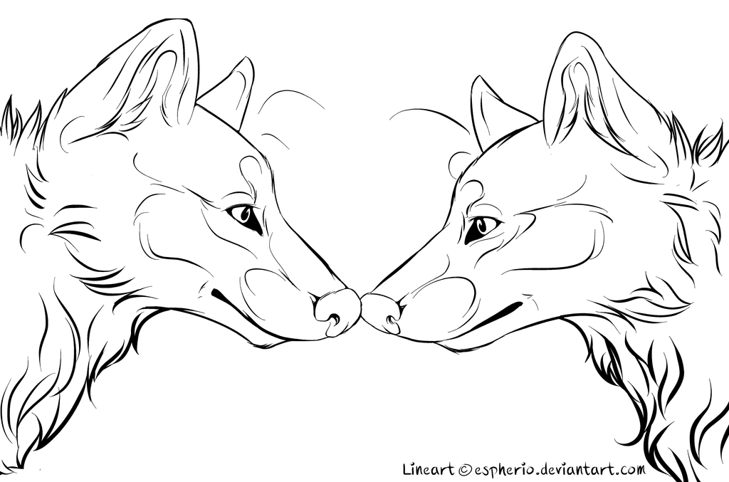 Free Line Art : Wolf couple free lineart ms paint friendly by espherio