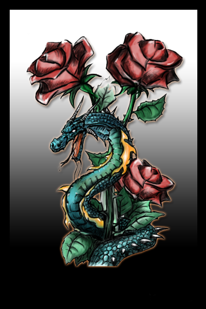 roses and dragon by kriart on deviantart