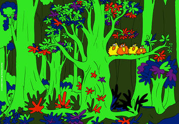 Four little birds in a dark forest (doodle 040 C)