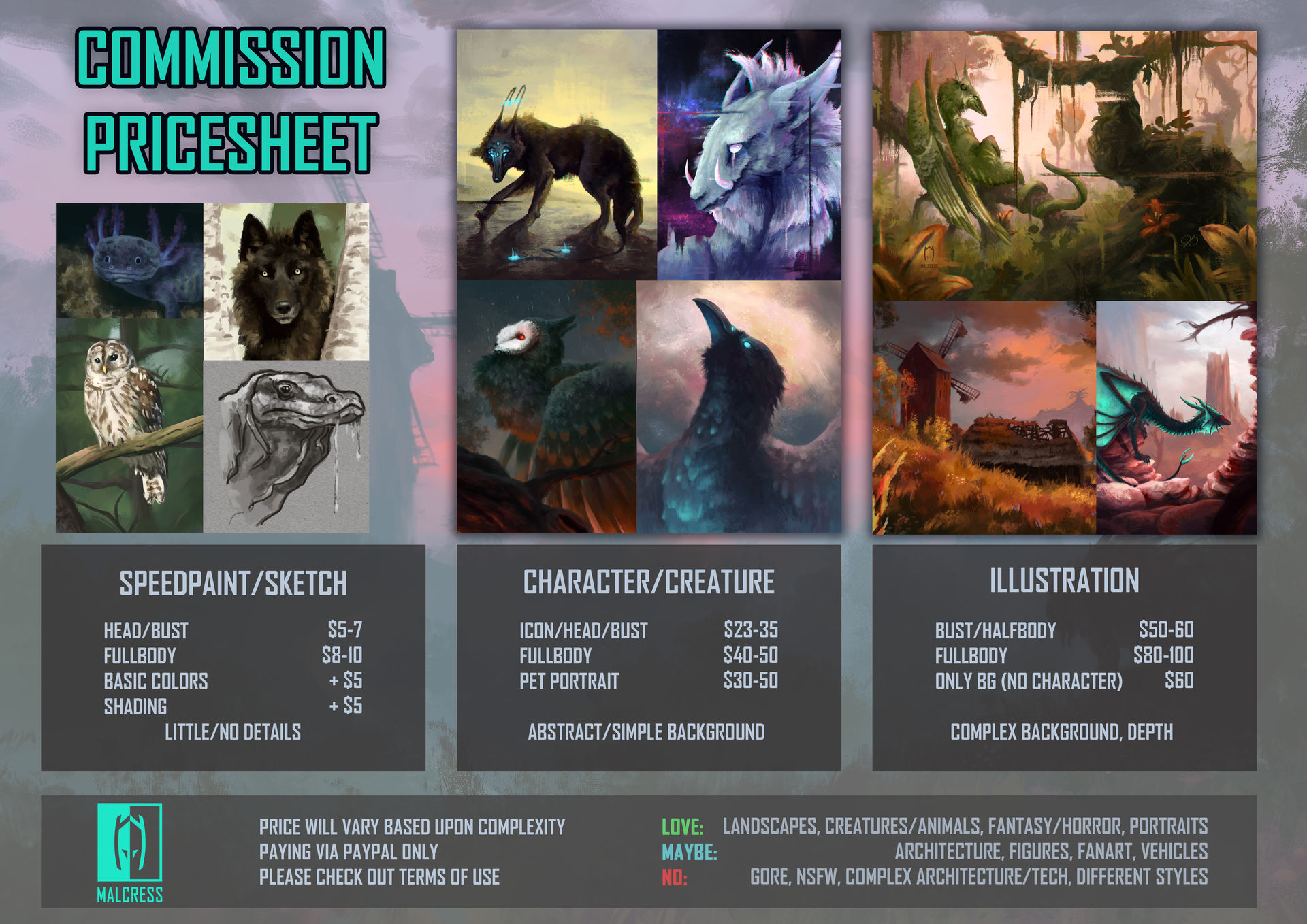 Commission Pricesheet (new sheet in description!)