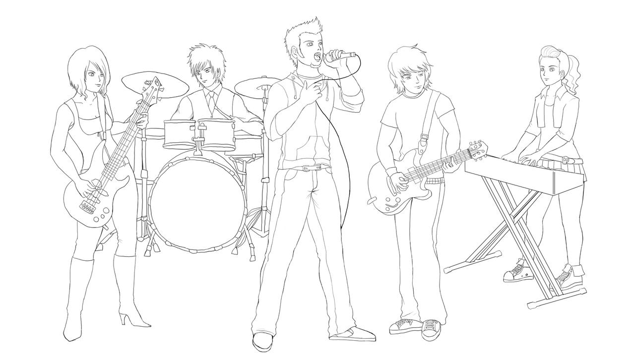 Oc rock band sketch by wakamoley on deviantart for Band coloring pages