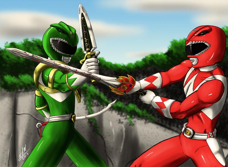 Green Ranger Vs Red Ranger redux by Odin787