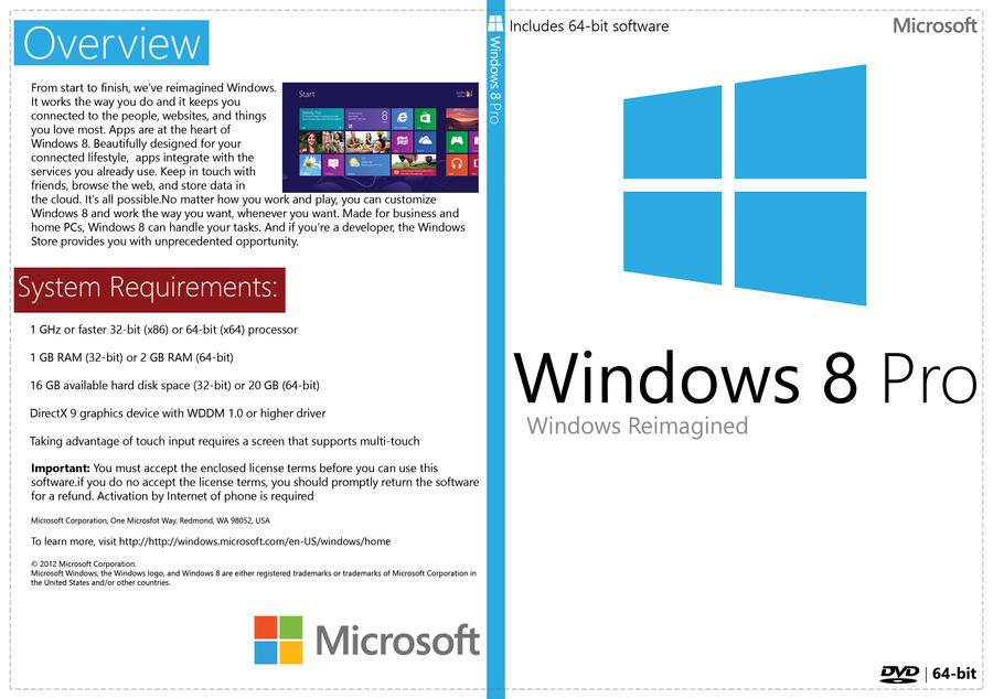 Windows 8 Pro 64-bit White DVD Cover (New MS Logo) by Mandosis
