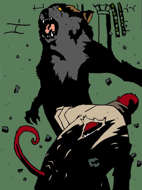 Hellboy Vs Werewolf by skuad69