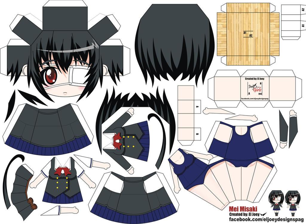 Misaki Mei papercraft by ELJOEYDESIGNS