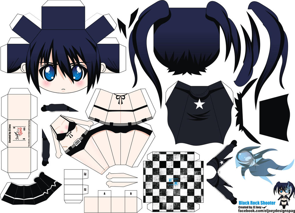 Black Rock Shooter papercraft by ELJOEYDESIGNS