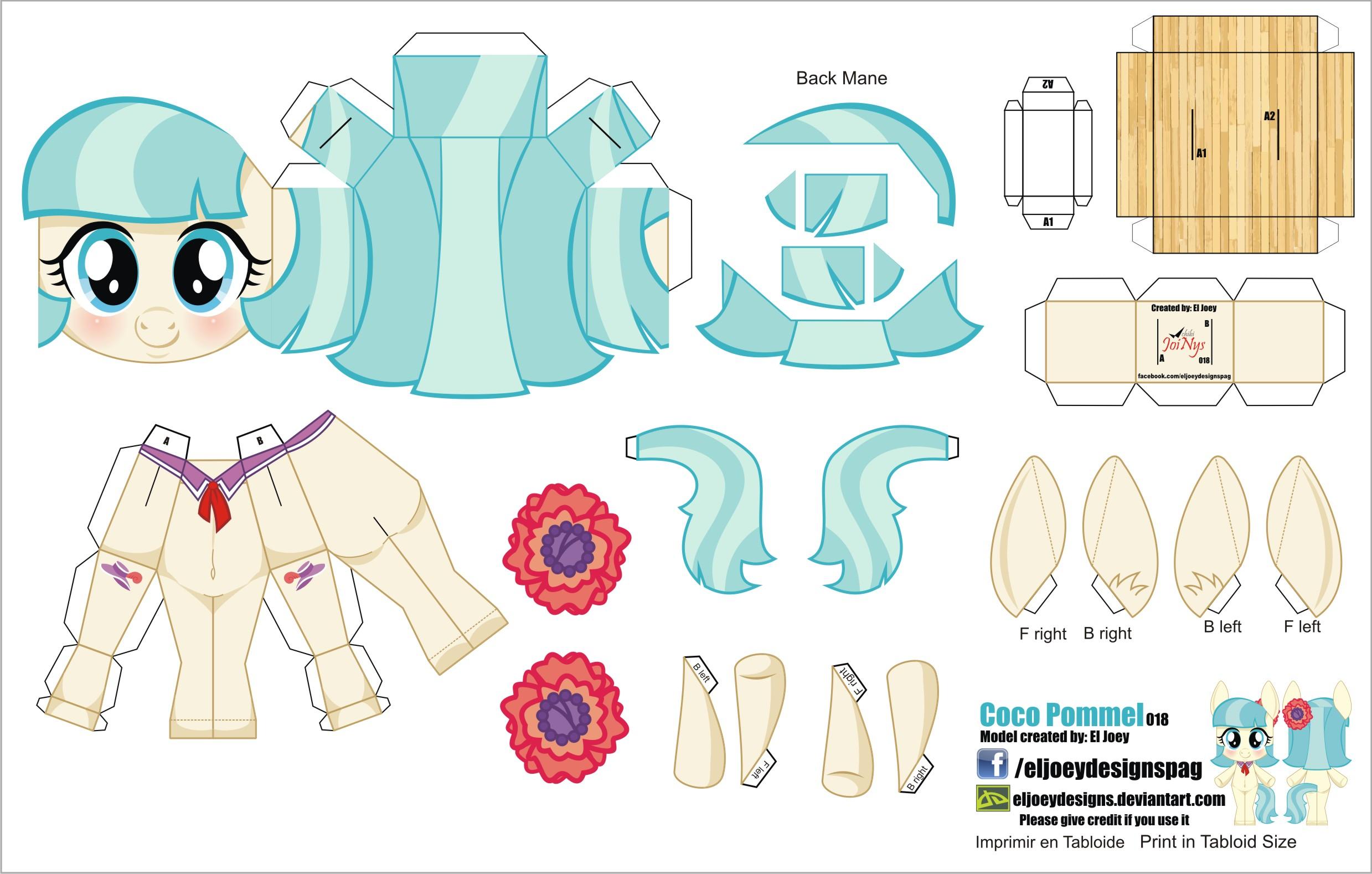Схемы поделок из бумаги пони