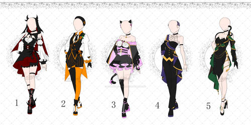 [OPEN 3/5] Halloween Outfit Adopts Set1  [Auction]