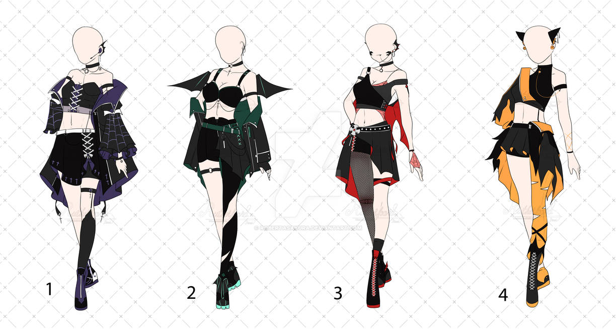 [OPEN 4/4] Halloween Punk Outfit Adopts  [Auction]