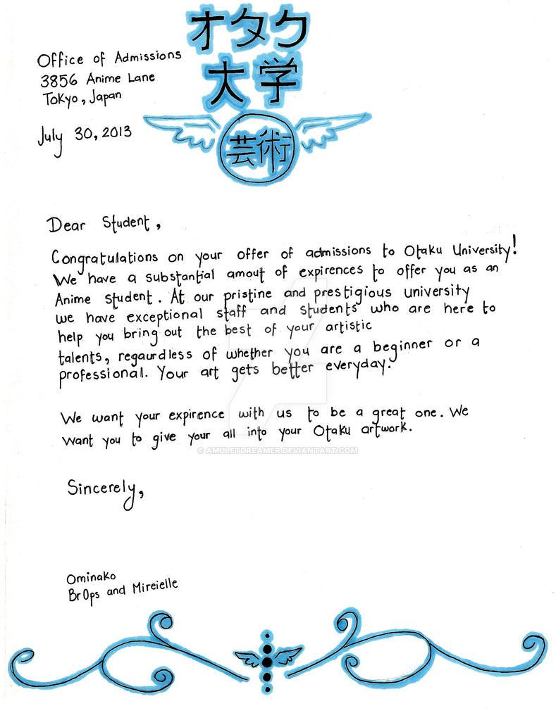 Otaku University Acceptance Letter design by AmuletDreamer on