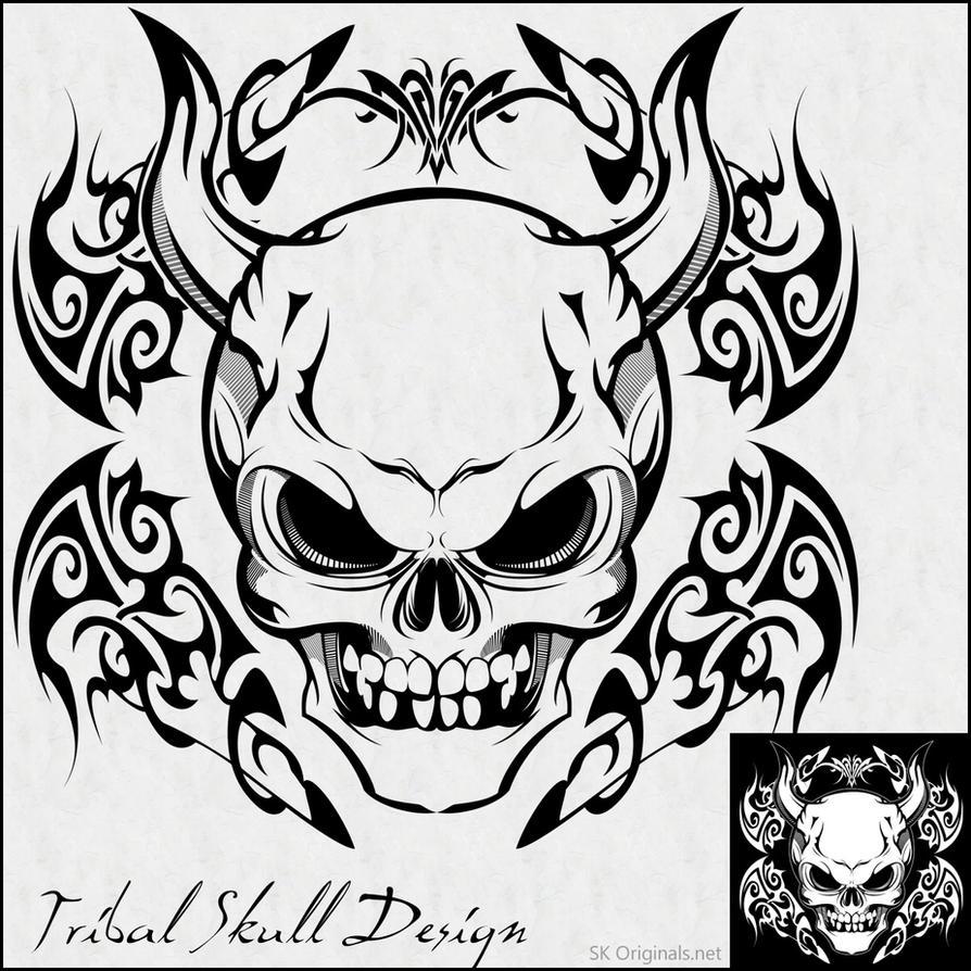 Tribal Skull Design by SKoriginals