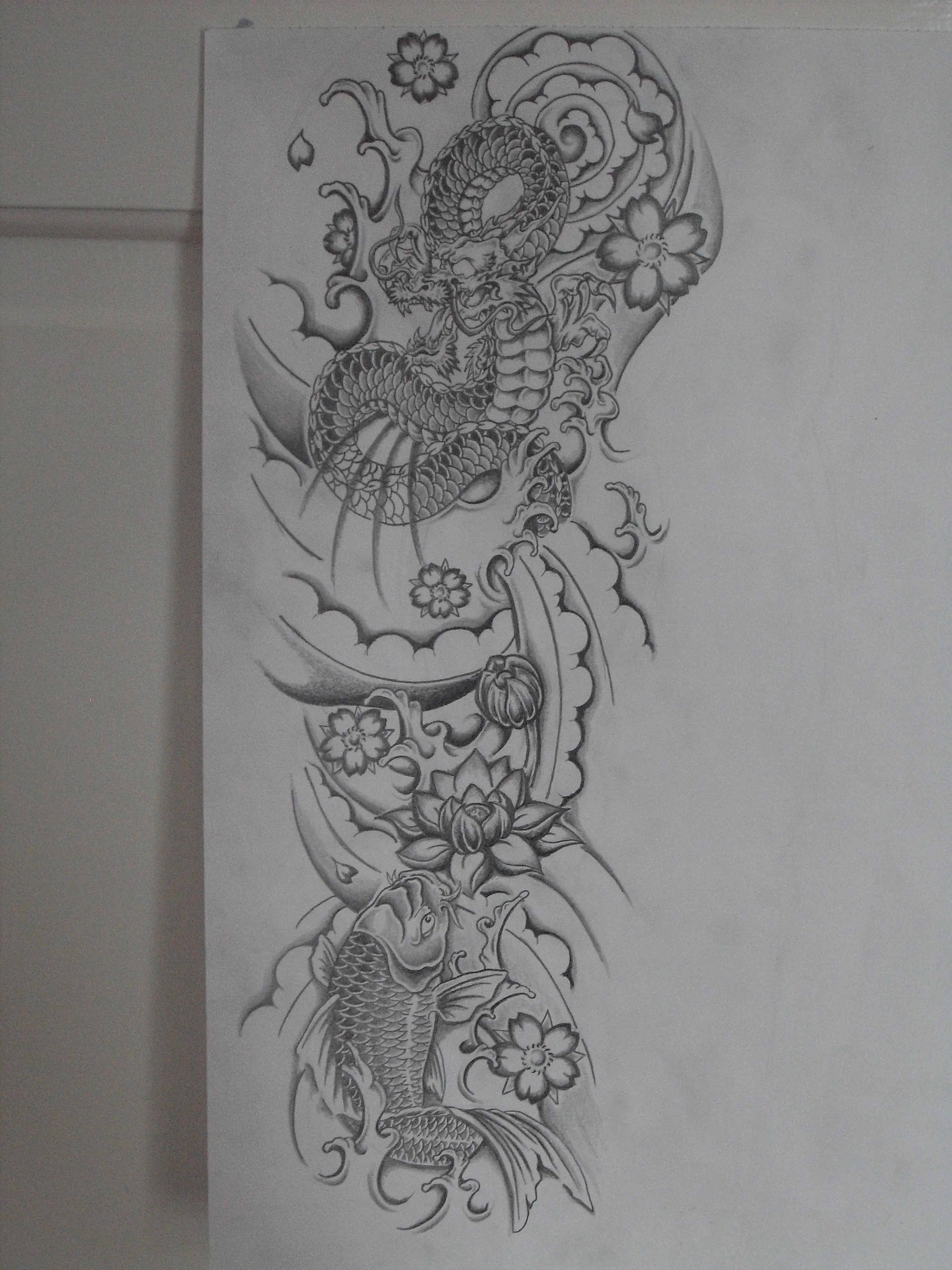 Line Drawing Tattoo Sleeve : Dragon and koi sleeve idea by ashtonbkeje on deviantart