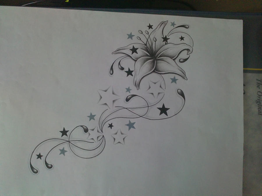 Lily star 39 s and swirl 39 s by ashtonbkeje on deviantart for Swirl tattoo designs