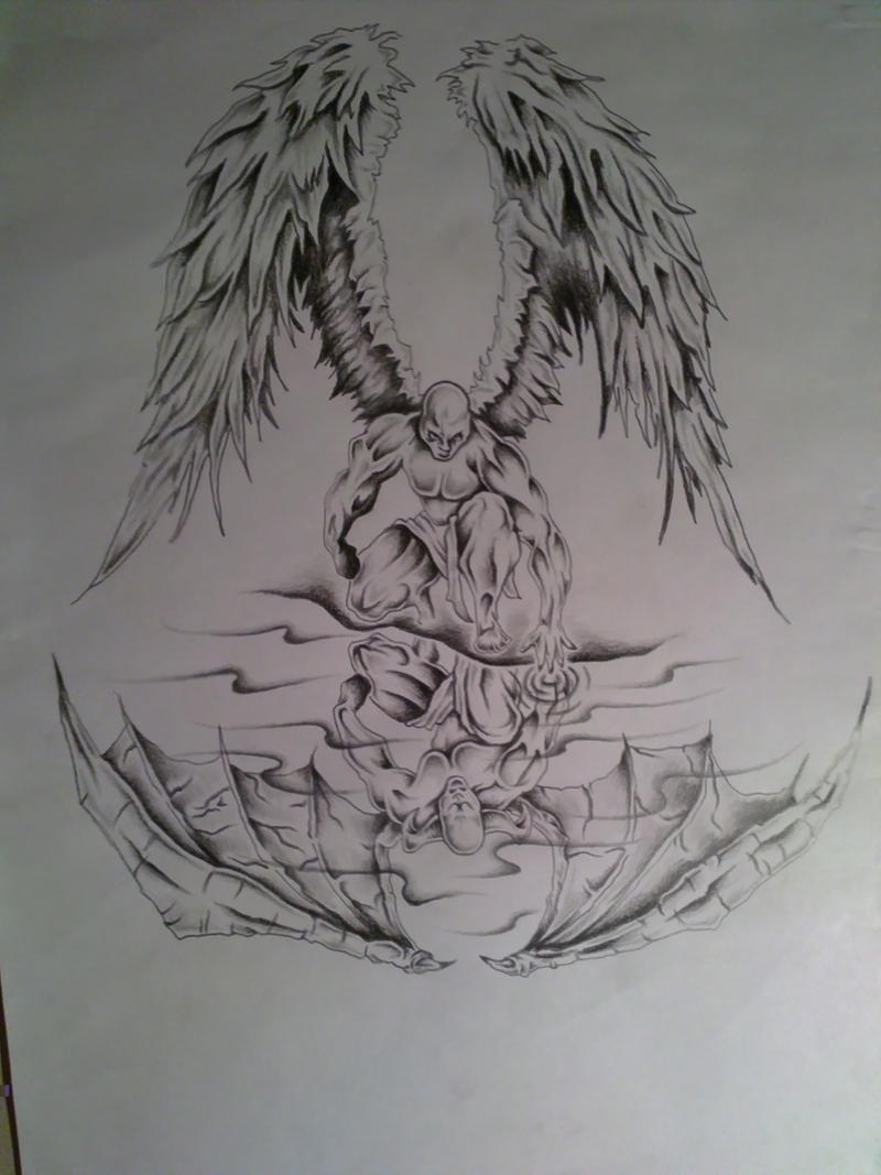 images of angel vs demon tattoo drawing spacehero
